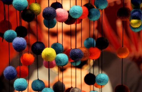 Palle di Natale: stoffa cartavelina spago