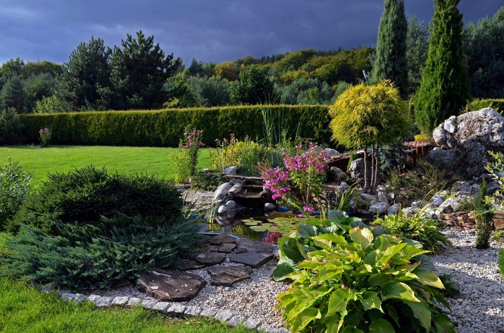 giardino roccioso con prato