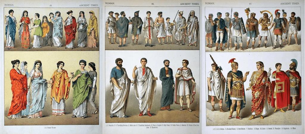 Abiti dell'antica Roma: abiti femminili, abiti maschili e abiti militari