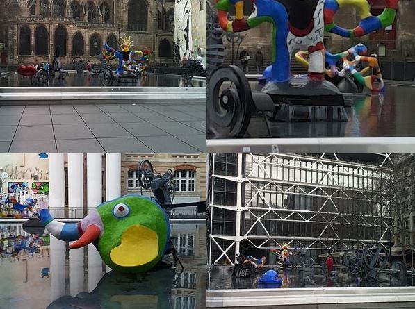 Esterno del Centro Pompidou Paris fontana con opere di Niki Saint Phalle