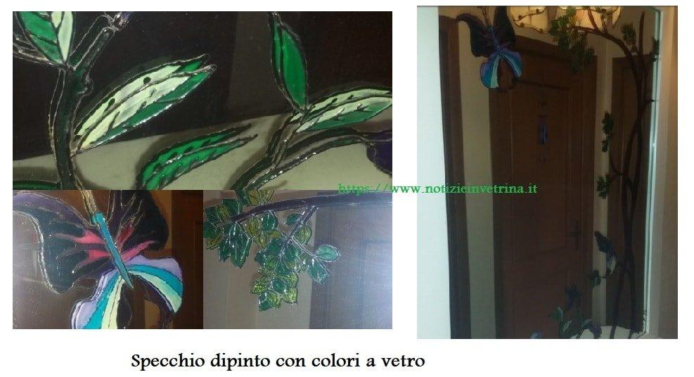 specchio dipinto con colori a vetro