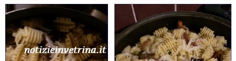 Pasta con verdure funghi e provolone: primo veloce