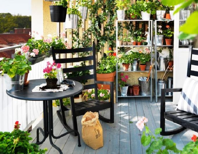 Soluzioni salvaspazio utilizzando vasi e fioriere in - Piante sempreverdi per terrazzi ...
