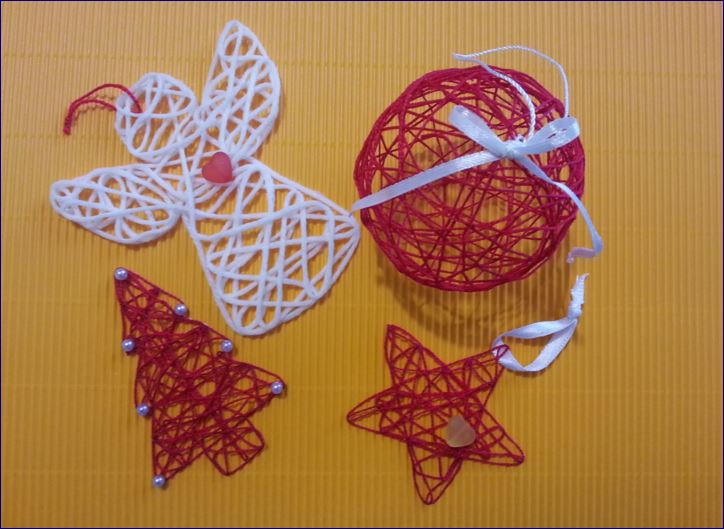 Angeli stelle e palle di Natale con filo fai da te