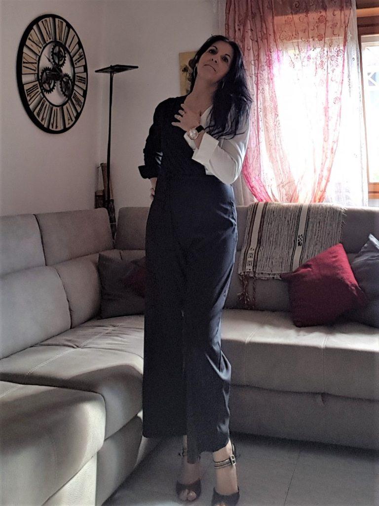 Jumpsuit bianco e nero Manzara