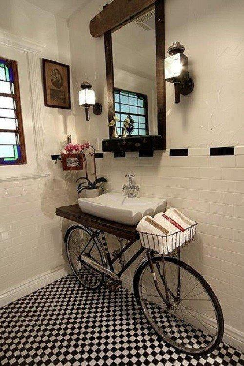 Porta lavabo con bicicletta vintage