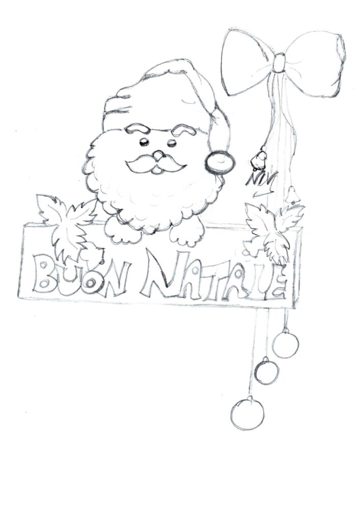Babbo Natale da colorare, disegno e biglietto natalizio con auguri -  Notizie In Vetrina