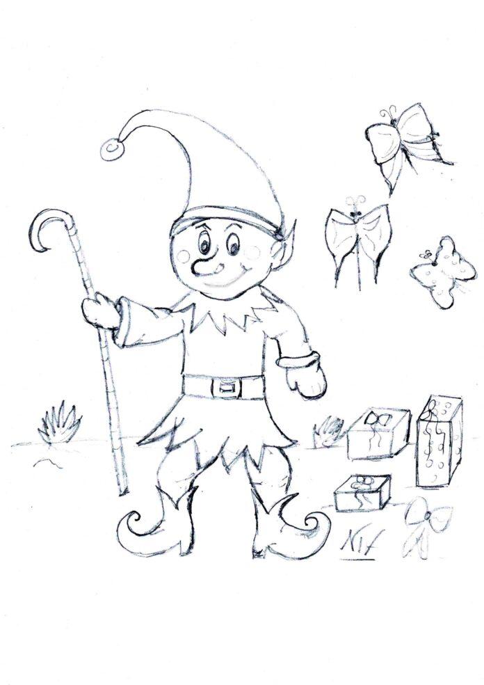 Disegno di Natale L'elfo o gnomo allegro da colorare