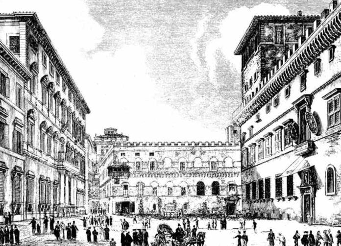 piazza venezia 1850 roma antica